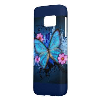 Coque Samsung Galaxy S7 Papillon bleu