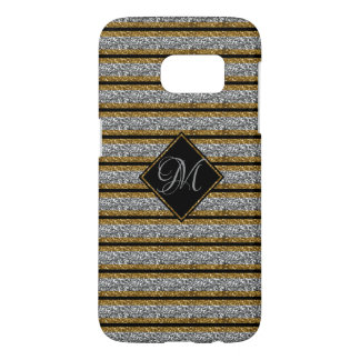 Coque Samsung Galaxy S7 Parties scintillantes à la mode de noir d'ARGENT