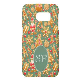 Coque Samsung Galaxy S7 Père Noël de fête et monogramme de pain d'épice de