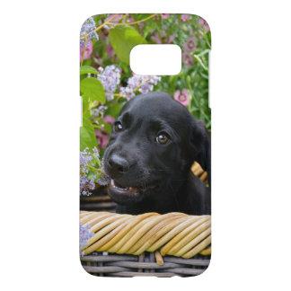 Coque Samsung Galaxy S7 Photo noire mignonne //de chiot de chien de
