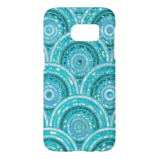 Coque Samsung Galaxy S7 Points et cercles de luxe de scintillement d'Aqua