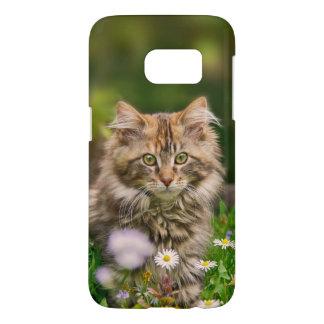 Coque Samsung Galaxy S7 Pré mignon Phonecase de fleur de chat de chaton de