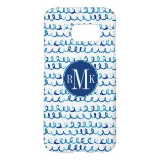 Coque Samsung Galaxy S7 Profil onduleux d'aquarelle bleue peinte à la main