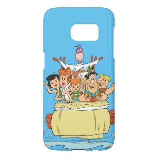 Coque Samsung Galaxy S7 Promenade en voiture de famille de Flintstones