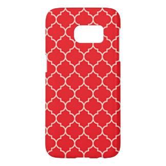 Coque Samsung Galaxy S7 Quatrefoil rouge et blanc