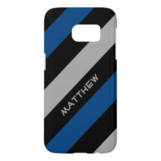 Coque Samsung Galaxy S7 Rayures diagonales élégantes bleues du gris   de