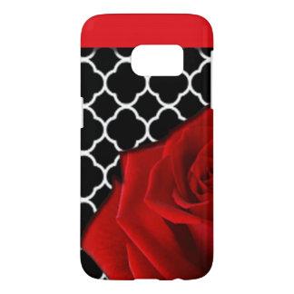 Coque Samsung Galaxy S7 Rose rouge et motif de Quatrefoil
