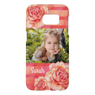 Coque Samsung Galaxy S7 Roses et rayures