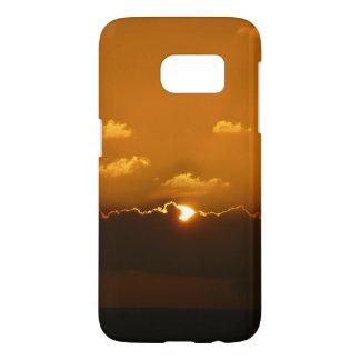 Coque Samsung Galaxy S7 Sun derrière le paysage marin d'orange des nuages