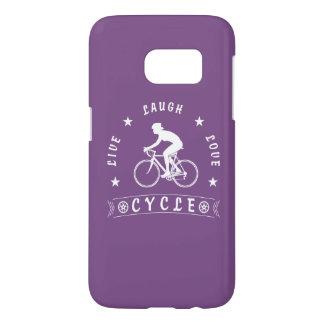 Coque Samsung Galaxy S7 Texte de Live Laugh Love Cycle de Madame (blanc)