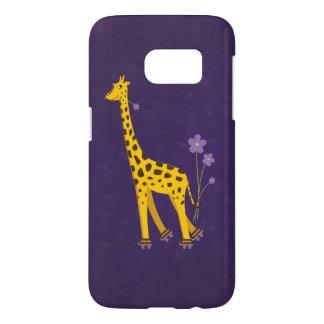 Coque Samsung Galaxy S7 Violette drôle de patinage de rouleau de girafe