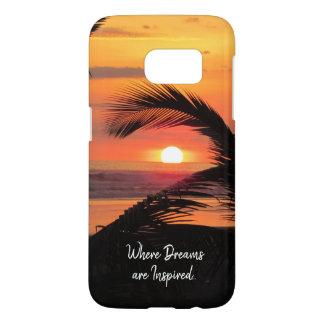 Coque Samsung Galaxy S7 Vue tropicale de plage de coucher du soleil