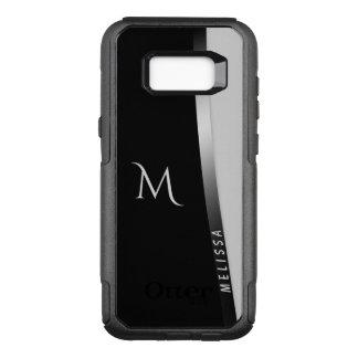 Coque Samsung Galaxy S8+ Par OtterBox Commuter Argent blanc noir élégant, nom et monogramme