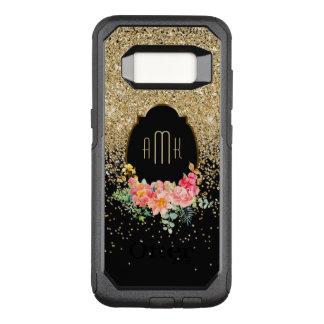 Coque Samsung Galaxy S8 Par OtterBox Commuter Cascades de scintillement d'or avec le monogramme