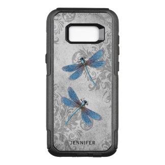 Coque Samsung Galaxy S8+ Par OtterBox Commuter Damassé grunge vintage et libellules avec le nom