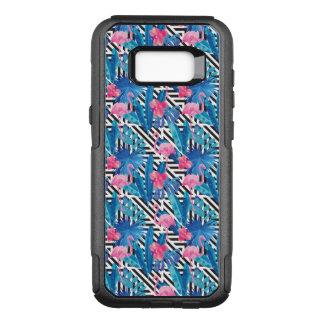 Coque Samsung Galaxy S8+ Par OtterBox Commuter Flamant et paumes sur le motif géométrique