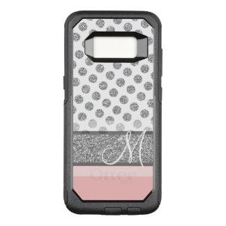 Coque Samsung Galaxy S8 Par OtterBox Commuter Le monogramme argenté de point de polka de