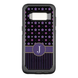 Coque Samsung Galaxy S8 Par OtterBox Commuter Monogramme rayé floral noir pourpre vintage mignon