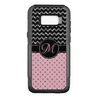 Coque Samsung Galaxy S8+ Par OtterBox Commuter Noir argenté rose chic Chevron de parties