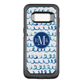Coque Samsung Galaxy S8 Par OtterBox Commuter Profil onduleux d'aquarelle bleue peinte à la main