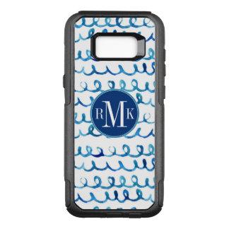 Coque Samsung Galaxy S8+ Par OtterBox Commuter Profil onduleux d'aquarelle bleue peinte à la main