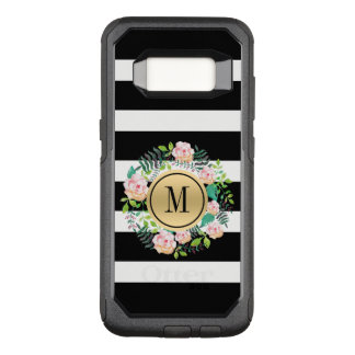 Coque Samsung Galaxy S8 Par OtterBox Commuter Rayures noires et blanches, roses roses guirlande,