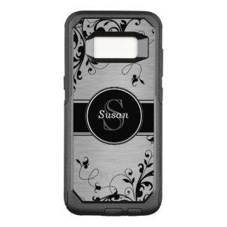 Coque Samsung Galaxy S8 Par OtterBox Commuter Remous floraux noirs argentés de Faux