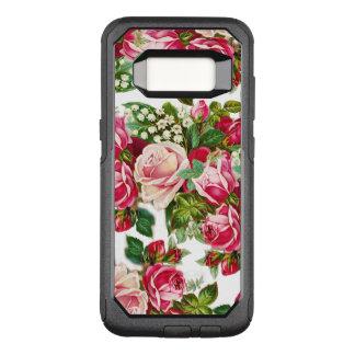 Coque Samsung Galaxy S8 Par OtterBox Commuter Rougissent les roses vintages de Bohème rouge-rose