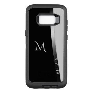 Coque Samsung Galaxy S8+ Par OtterBox Defender Argent blanc noir élégant, nom et monogramme