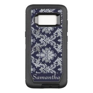 Coque Samsung Galaxy S8 Par OtterBox Defender Caisse pourpre et argentée de nom de damassé