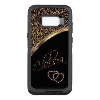 Coque Samsung Galaxy S8+ Par OtterBox Defender Confettis et noir d'or avec le nom de manuscrit