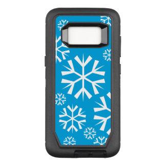 Coque Samsung Galaxy S8 Par OtterBox Defender Flocons de neige blancs sur un arrière - plan bleu