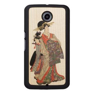 Coque Téléphonique En Bois Femme dans le kimono coloré (copie vintage de