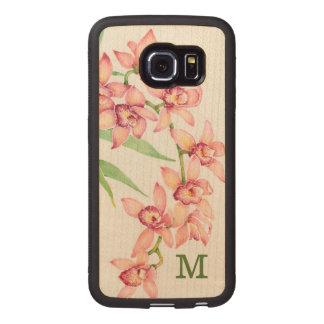 Coque Téléphonique En Bois Fleurs roses d'aquarelle