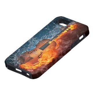 Coque Tough iPhone 5 Cas dur de l'iPhone 5 de violon du feu et de l'eau