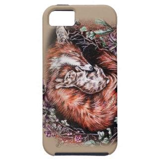 Coque Tough iPhone 5 Dessin de Fox rouge et d'art animal et de lis de
