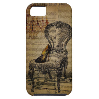 Coque Tough iPhone 5 fashionista de Tour Eiffel de Paris de chaise de
