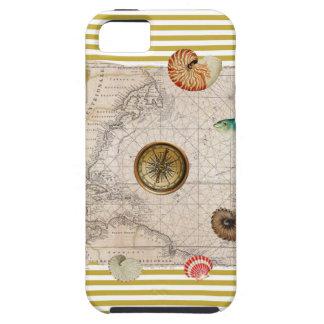 Coque Tough iPhone 5 La marine prise les rayures jaunes de moutarde