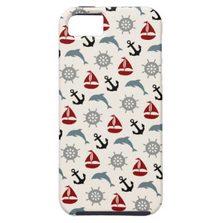 Coque Tough iPhone 5 Marine et rouge de motif d'ancre de dauphin de