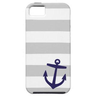 Coque Tough iPhone 5 Rayures nautiques de gris et de marine et ancre