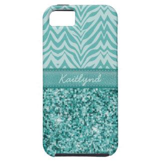 Coque Tough iPhone 5 Zèbre turquoise étincelant