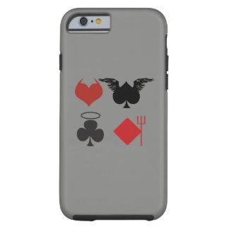 Coque Tough iPhone 6 Ange et costumes de carte de diable gris-foncé
