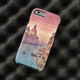 Coque Tough iPhone 6 Art en pastel d'aquarelle de canal vintage chic de