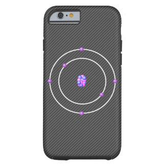 Coque Tough iPhone 6 Atome de carbone avec l'arrière - plan de fibre de
