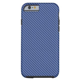 Coque Tough iPhone 6 Base bleue de fibre de carbone