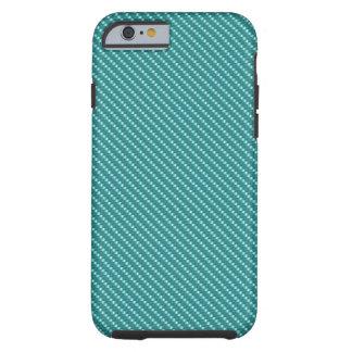 Coque Tough iPhone 6 Base bleue de fibre de carbone d'Aqua