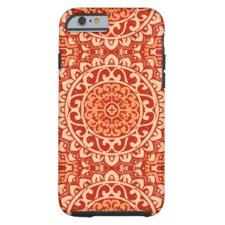 Coque Tough iPhone 6 Batik du sud-ouest de mandala de Sun, orange de