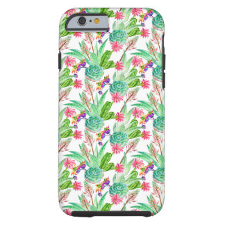 Coque Tough iPhone 6 Cactus lumineux d'aquarelle et motif succulent