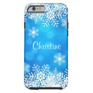 Coque Tough iPhone 6 Cas dur de l'iPhone 6 de Bokeh de flocon de neige
