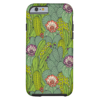 Coque Tough iPhone 6 Cas dur de l'iPhone 6 de motif de fleur de cactus